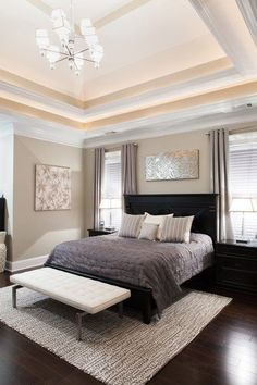 Ness - contemporary - bedroom -Shades of gray bedroom. Classic, yet modern. Black Bedroom Furniture, Gray Bedroom, Home Decor Bedroom, Bedroom Ideas, Trendy Bedroom, Bedroom Designs, Light Bedroom, Black Bedroom Decor, Master Bedrooms