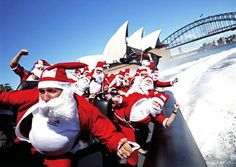 Sydney, Australia // How many Santas can you fit in a speedboat? No, it's not a joke - just part of Australia's Christmas celebration in Sydney Harbour!