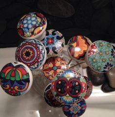 Set of 6 hand decorated wooden drawer knobs; Talavera design  1 1/2 inches on Etsy, $32.86 CAD