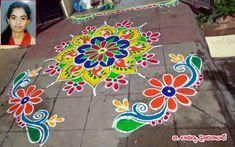 Rangoli Designs Latest, Rangoli Designs Flower, Rangoli Border Designs, Small Rangoli Design, Rangoli Designs Images, Rangoli Designs Diwali, Rangoli Designs With Dots, Kolam Rangoli, Flower Rangoli