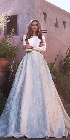 24 Lace Ball Gown Wedding Dresses You Love simple ball gown wedding dresses with long sleeves jewel neck gold belt floral embellishment lorenzo ros. 24 Lace Ball Gown Wedding Dresses You Love simple ball gown wedding dresse Wedding Robe, Top Wedding Dresses, Wedding Dress Trends, Wedding Dress Sleeves, Bridal Dresses, Lace Wedding, Modest Wedding, Lace Sleeves, Bridesmaid Dresses