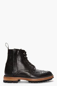 Lanvin Black Leather Brogue Boots for men | SSENSE