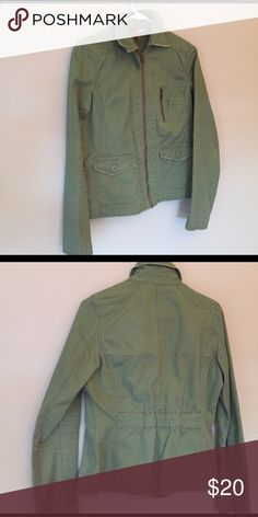 Olive green jacket Olive green utility style jacket. Light weight- perfect for spring and summer.  Like new condition. Size 8, runs small. H&M Jackets & Coats Utility Jackets
