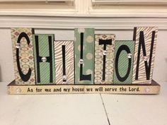 Custom name blocks are a great wedding gift idea!