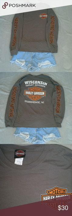 Rare Harley Davidson Long Sleeve Great condition size Large! Harley Davidson Long sleeve! Wisconsin shirt! Has Harley Davidson down both arms & has decals on both front & back! Authentic from Harley Davidson! If you love Harley you need this! Harley-Davidson Tops
