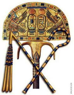 Éventail de cérémonie et sceptre insigne du Pharaon- Trésor de Toutankhamon. https://www.facebook.com/PassionEgypteAncienne