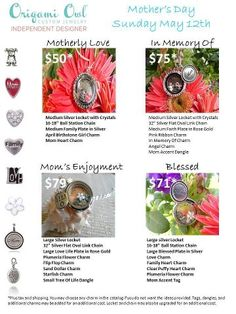 Mother's Day is right around the corner! Order your locket today! www.carolynmullen.origamiowl.com