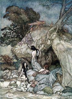 Arthur Rackham _ Girls by a stream 1906