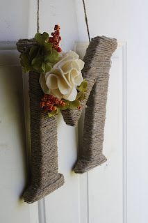 Broken Treasures: Autumn Entryway - I just love the look of the letter with the pretty fall greenery.