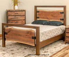 Contemporary Wood Bed by Woodland Creek Furniture.