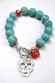 ilaments — Day of the Dead Vida Skull Turquoise Bracelet
