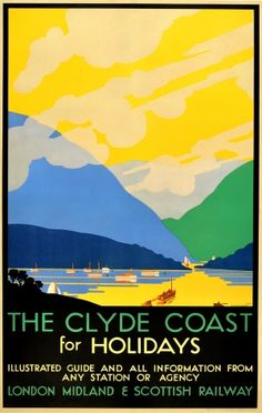 The Clyde Coast Scotland LMS Railway, 1930 - original vintage poster by Pieter Irwin Brown listed on AntikBar.co.uk