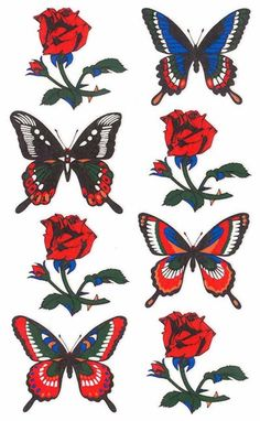 Roses and Butterflies Paper Tattoos