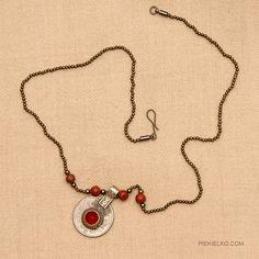 Ethnic necklace with beaded coin pendant by PiekielkoEtnoJewelry