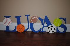 Decorative sports themed wall letters. #DIY  Order your letters to create your own - http://stores.ebay.com/Diverse-Woodworking-LLC