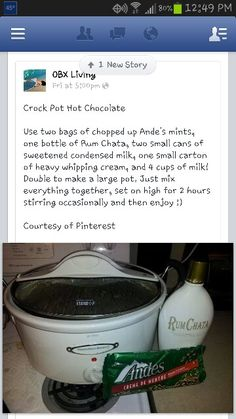 Slow cooker hot chocolate with Andes mints and Rum Chata