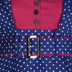 Küstenluder SHAREN V-Neck Polka Dots Knot Pin Up Rose Vintage SHIRT Rockabilly