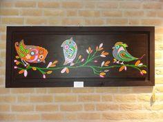 Vogels, felle kleuren,  acrylverf op doek