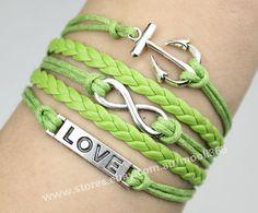 Silvery anchor infinity karma love bracelet,green wax rope woven rope jewelry