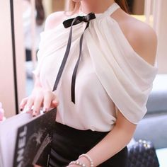 Stylish Solid Color Off-The-Shoulder Bowknot Blouse For Women