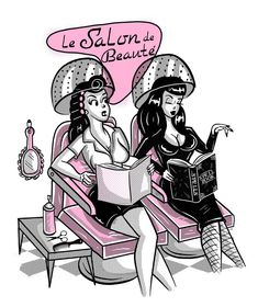 Retro Vintage LE SALON DE BEAUTE' print on high quality cardstock print paper (NOT FRAMED)This is the original illustration of ©️ 2017 Poisoned Doll. All rights reserved. Retro Kunst, Retro Art, Retro Vintage, Halloween Art, Vintage Halloween, Halloween Images, Dibujos Pin Up, Rockabilly Art, Rockabilly Dresses