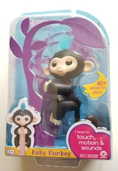 Fingerlings Baby Monkey Finn Interactive Girl Boy Toy 5+ Black  WowWee Motion   #WowWee