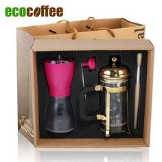 1Set Free Shipping DHL EMS FedEx Hot Sell Espresso Coffee Grinder+ 350ML French Coffee Press