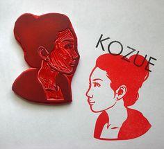 Self portrait hand carved stamp(s) by Kozue. http://www.etsy.com/uk/people/Kozue?ref=owner_profile_leftnav Tags: Linocut, Cut, Print, Linoleum, Lino, Carving, Block, Woodcut, Eraser, Japanese, Helen Elstone, Cartoon.