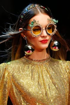 ce34a270efb89 10 totally extra sunglasses at the Dolce   Gabbana show this weekend