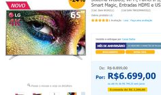 "Smart TV LED 65"" Ultra HD 4K LG 65UH6500 com Sistema WebOS Wi-Fi Painel IPS HDR Pro Controle Smart Magic Entradas HDMI e USB << R$ 669900 em 9 vezes >>"