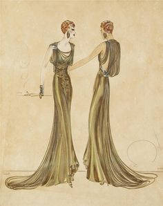 costume sketches of evening gowns for an unspecified production, colored ink and gouache on illustration board, by designed Milo Anderson (1910-84). Anderson was a costume designer for 24 years, most of them at Warner Bros., where he created gowns for the likes of Olivia de Havilland (Captain Blood), Anita Louise (Anthony Adverse), Jane Wyman (Woman in Black), and Jean Muir (Stars Over Broadway).