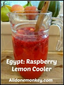 Egypt: Raspberry Lemon Cooler {Around the World in 12 Dishes} - Alldonemonkey.com - with a link up of Egyptian food!