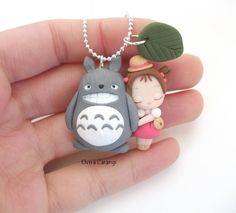 Totoro and Mei necklace, polymer clay handmade by elvira-creations