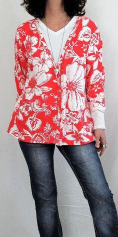 Chico's Cotton L Sleeve Vneck Button Down Floral Cardigan Coral Sz L (3) #Chicos #Cardigan