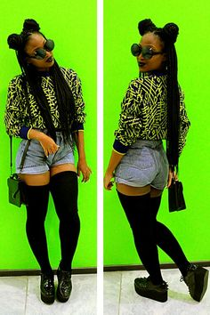 Long box braids, jean shorts , retro jumper #bgki #alternative #afropunk. Pinterest: ♚ @RoyaltyCalme †