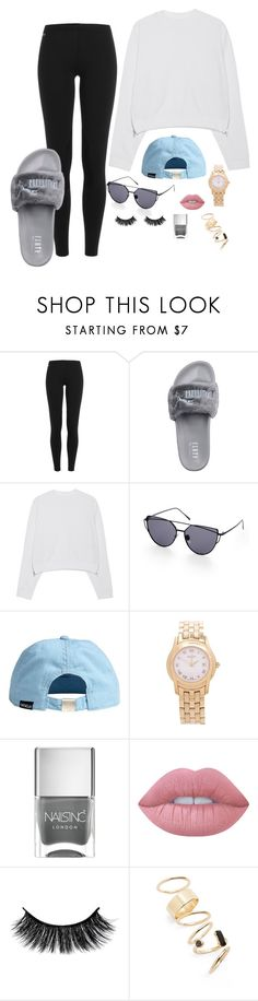 """""""Basic Casual"""" by lxvxughn ❤ liked on Polyvore featuring Polo Ralph Lauren, Puma, Acne Studios, Gucci, Nails Inc., Lime Crime and BP."""