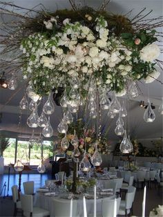 Wedding Flowers - Most people would consider using flowers in their wedding to add more natural look, like making a floral backdrop, an eyeful floral centerpieces or wedding bouquets. Floral Centerpieces, Wedding Centerpieces, Floral Arrangements, Wedding Bouquets, Wedding Decorations, Lustre Floral, Flower Chandelier, Chandelier Ideas, Chandeliers