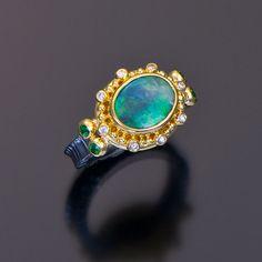 oxidized sterling silver 22kt gold granulation boulder opal ring