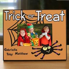 """Happy Halloween Printed Frame 🎃 Personalized with up to 4 names! Display your favorite Halloween photo with this festive Halloween Picture Frame. ▪Measures 8"""" x 10"""" and holds a 3.5"""" x 5"""" or 4"""" x 6"""" photo."""