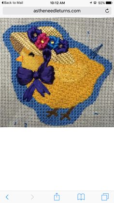 Good use of ribbon, needlepoint chick for Easter