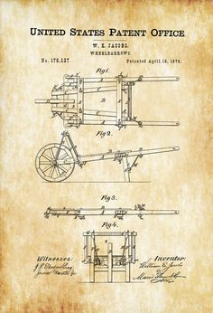A patent print poster of an old fashioned Wheelbarrows invented by W. The patent was issued by the United States Patent Office on April Patent prints allow you to have a piece of history in your Home, Office, Man Cave, Geek Den or any Modern Decor, Modern Design, Wooden Wheelbarrow, Patent Office, Patent Drawing, Old Tools, Photo Printer, Vintage Tools, Patent Prints