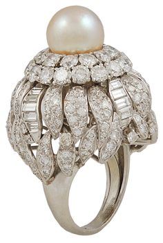 DAVID WEBB Diamond & Pearl Ring | From a unique collection of vintage more rings at http://www.1stdibs.com/jewelry/rings/more-rings/
