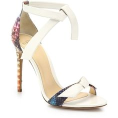 Alexandre Birman Clarita Rainbow Python & Leather Sandals (2.800 BRL) ❤ liked on Polyvore featuring shoes, sandals, apparel & accessories, multi, leather ankle wrap sandals, snake skin sandals, rainbow sandals, snakeskin shoes and ankle tie sandals