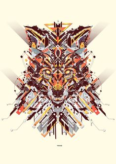 """French graphic designer and illustrator YoAz has created """"Electro Animals,"""" a collection of colorful animal illustrations made of geometric, electric Doodles Zentangles, Art Fox, Design Art, Graphic Design, Tatoo Art, Colorful Animals, Tribal Animals, Graphic Illustration, Animal Illustrations"""