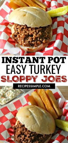 Instant Pot Turkey Sloppy Joes are a delicious quick meal made with ground turkey and a lightly tangy sweet sauce served on warm hamburger buns. via pot recipes ground turkey Instant Pot Turkey Sloppy Joes Quick Meals To Make, Quick Healthy Meals, Healthy Recipes, Cooking Recipes, Quick Meals For Dinner, Quick Crockpot Meals, Meal Recipes, Easy Cooking, Lunch Recipes