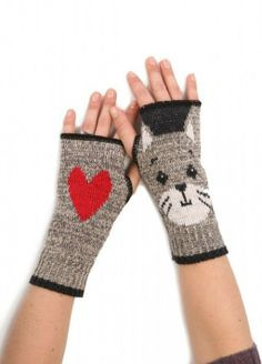 Made in the U.S.A. Kitty Handwarmers - Color: Grey