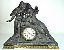 French Bronze Figural Clock, Vittoz, 19th C. WWW.JJAMESAUCTIONS.COM