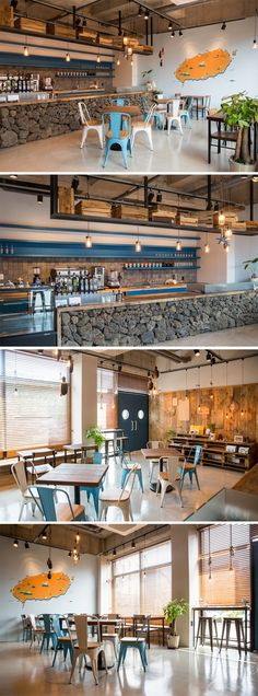 In love with the for this part-office/cafe in the Jeju province of South Korea. Outdoor Restaurant, Cafe Restaurant, Restaurant Design, Church Interior Design, Public Space Design, Dog Cafe, Café Bar, Counter Design, Interior Concept