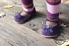 Purple Velvet Mary Jane shoes. Non-slip, suede soles and trendy fabric uppers, easy Velcro fastening.