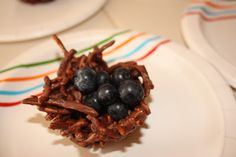 Easter snacks for kids: chocolate and peanut butter nests with blueberries